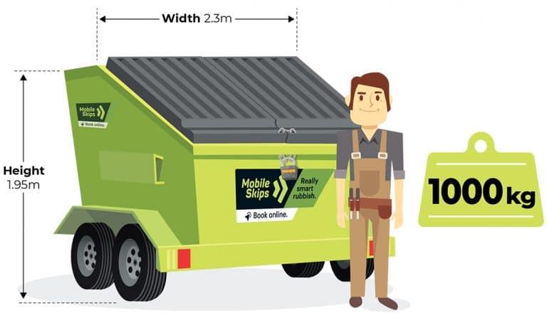 Mobile Skips - 4 cubic metre, Heavy skips bins - 500kg